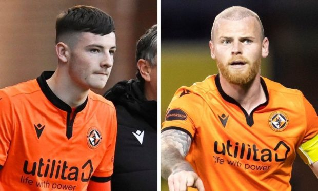 Dundee United defenders Kerr Smith and Mark Connolly.