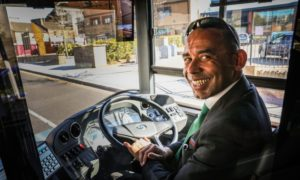 Driver Jonathan Eggleton giving an electric bus a spin.