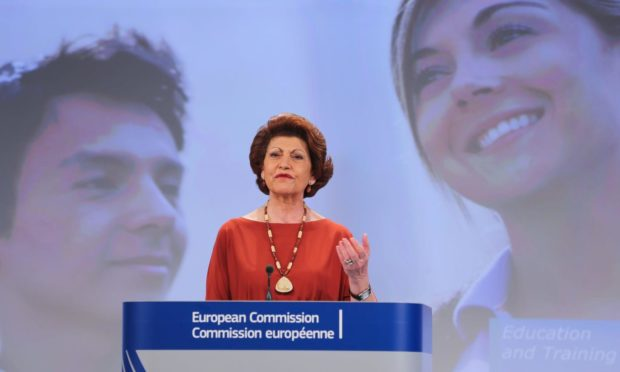 The European Commissioner for education, culture, multilingualism and youth, Androulla Vassiliou, gives a presentation on the Erasmus grant in Brussels.