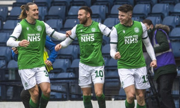 Kevin Nisbet (right) celebrates giving Hibs the lead at Hampden.