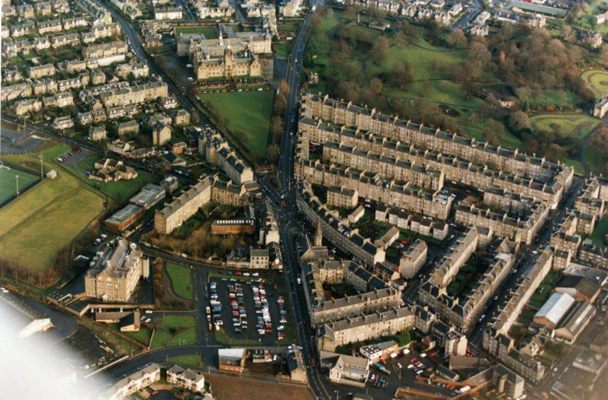 Stobswell from the air, 1999.