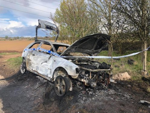 The shell of the vehicle on Emmock Road.