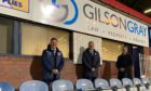 Jonny McInally, commercial manager, Dundee FC; Lindsay Darroch, partner and head of Dundee office, Gilson Gray and John Nelms, managing director, Dundee FC.