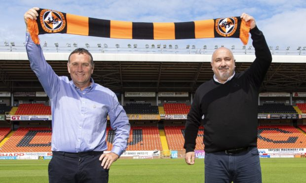 Micky Mellon and sporting director Tony Asghar at the Dundee United boss' unveiling in June last year.