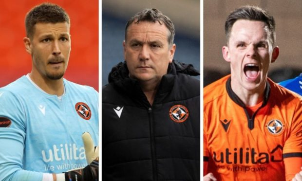 Dundee United boss Micky Mellon (centre) and star men Benjamin Siegrist (left) and Lawrence Shankland.
