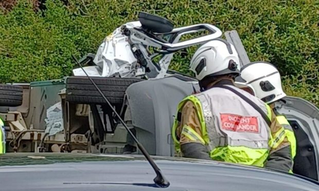 vehicle collides skip Fife