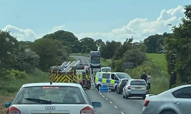 Police closed the road after the two-vehicle collision near Auchtertool
