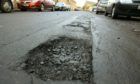 A general view of a pothole in Cupar.