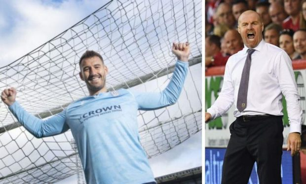 Adam Legzdins (left) is loving life with Dundee after three years under Sean Dyche (right) at Burnley.