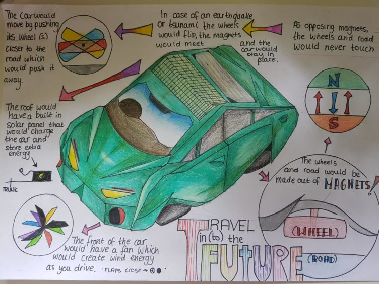 Jennifer Smith, 11, of Alyth Primary School, designed the road bubble to trap fumes and generate power.