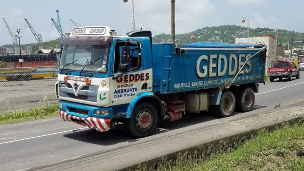 The Angus firm's tipper is now on the roads of St Lucia.