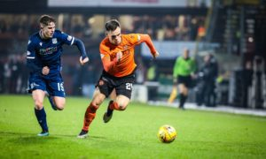 Fin Robertson and Lawrence Shankland in a Dundee derby.