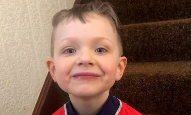 Five-year-old Teddy Ferris took part in the RNLI's Mayday Mile in tribute to his Angus ancestor.