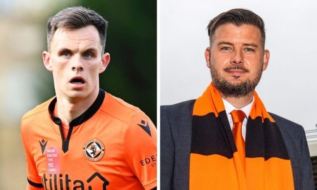 Dundee United striker Lawrence Shankland and head coach Tam Courts.