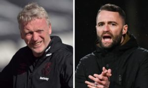 Dundee boss James McPake (right) will get to pit his wits against West Ham gaffer David Moyes.