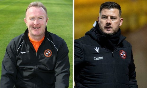 Former Dundee United youth development director Stevie Campbell and current boss candidate Tam Courts.