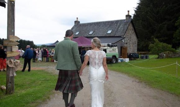 Mr and Mrs Miskelly at their own wedding reception at the Tullochcurran Farmhouse.