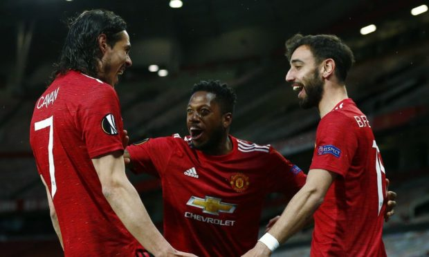 Man United trio Edinson Cavani, Fred and Bruno Fernandes.