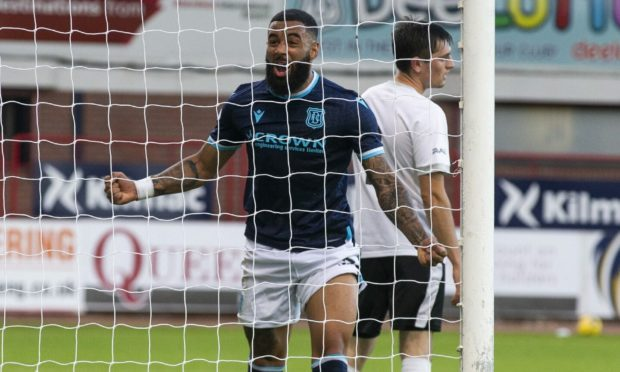 Alex Jakubiak celebrates scoring his first Dundee goal in the 4-0 win over Brora Rangers.