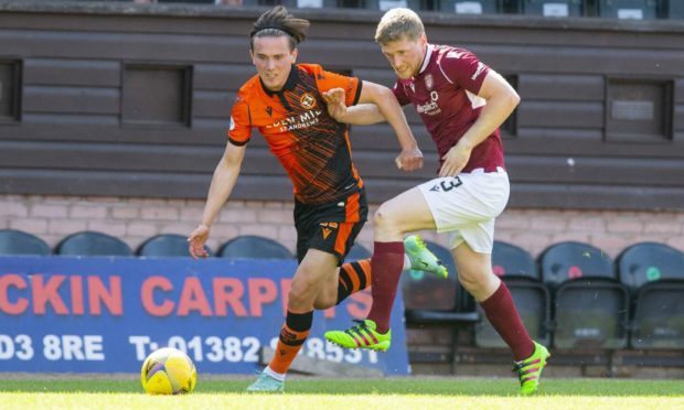 Dundee United winger Logan Chalmers in action against Arbroath recently.
