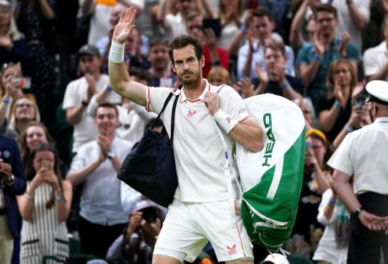 Andy Murray waves to the crowd after his third round match defeat against Denis Shapovalov.