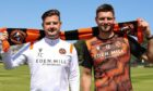 Dundee United head coach Tam Courts (left) is celebrating Ryan Edwards' extended deal.