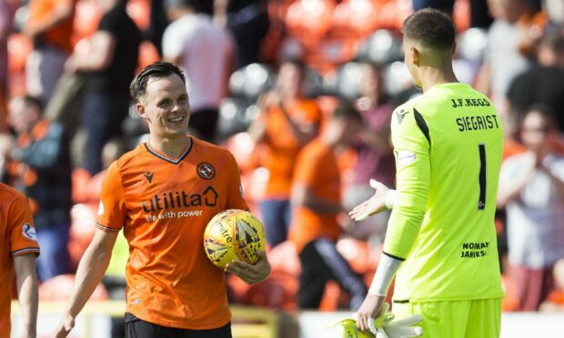 Dundee United striker Lawrence Shankland and goalkeeper Benjamin Siegrist.