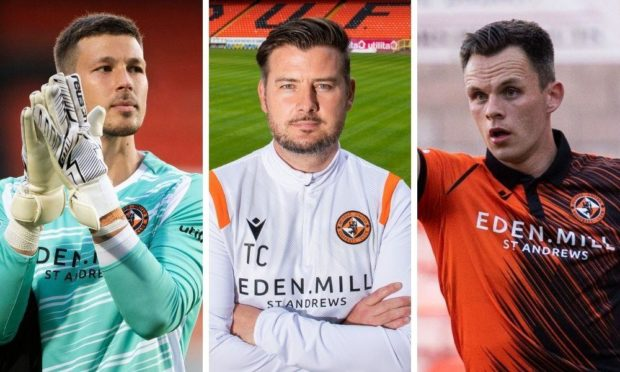 Dundee United goalkeeper Benjamin Siegrist, boss Tam Courts and striker Lawrence Shankland.