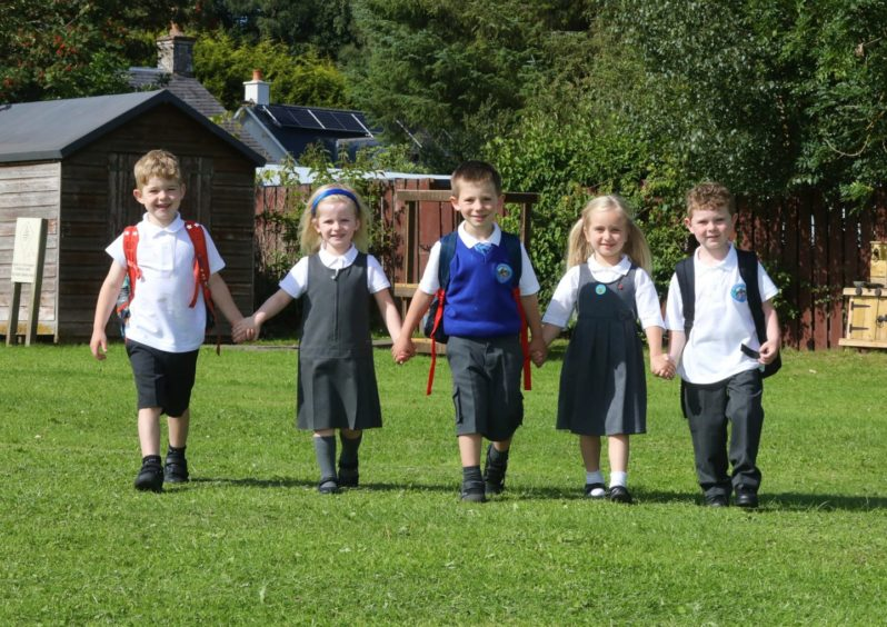 P1 pupils Arthur Shanks, Lily Donoghue, Finlay White, Gabriella Clarke and Fraser Cargill.