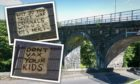 Anti-vaccination posters appeared on Leslie Viaduct.