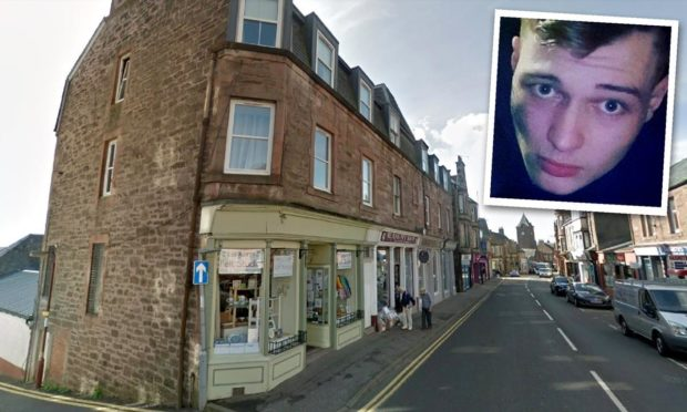Caileon Ward and the block in East High Street, Crieff, where the cannabis factory was found.