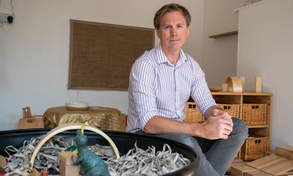 Toby Hartley's Cornerstones Nursery, in Blairgowrie, remains open but he fears staff being 'pinged'.