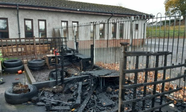 The nursery garden at Pitreavie Primary School, Dunfermline, which was destroyed by fire on Oct 30, 2020.