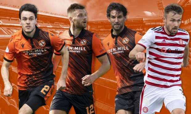 Scott McMann (right) is set to join the likes of (L to R) Liam Smith, Ryan Edwards and Charlie Mulgrew in defence for Dundee United.
