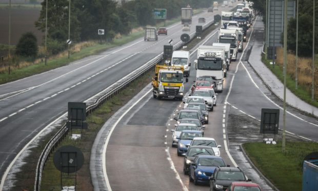 The work is affecting traffic on the A90 near Inchture.