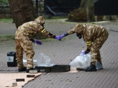 Military personnel at the site in Salisbury where Russian double agent Sergei Skripal and his daughter Yulia were found on a park bench (Ben Birchall/PA)