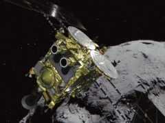 The unmanned Hayabusa2 has arrived at the asteroid, about 170 million miles from Earth (JAXA via AP)