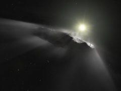 "Artist's impression of the interstellar asteroid ""Oumuamua. (ESA/Hubble, NASA, ESO, M. Kornmesser/PA)"