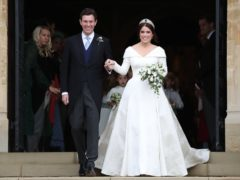 Princess Eugenie and Jack Brooksbank on the steps of St George's Chapel in Windsor Castle after their wedding (Steve Parsons/PA)