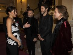 The Duchess of Sussex meeting Gary Barlow, Howard Donald and Mark Owen of Take That (Ian Vogler/Daily Mirror/PA)