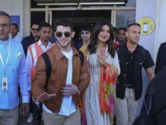 Bollywood actress Priyanka Chopra and musician Nick Jonas arrive at the airport in Jodhpur, Rajasthan, India, ahead of their wedding (AP Photo/Sunil Verma)