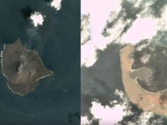 Anak Krakatau before and after eruption and collapse (Planet Labs Inc/PA)