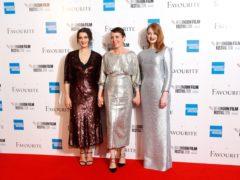 Rachel Weisz, Olivia Colman and Emma Stone (David Parry/PA)