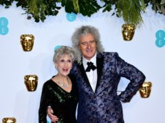 Anita Dobson and husband Brian May at the Baftas (Ian West/PA)