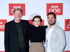 Adrian Dunbar, Vicky McClure and Martin Compston (PA)