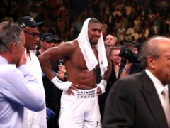 Anthony Joshua (centre) appears dejected after losing to Andy Ruiz Jr in the WBA, IBF, WBO and IBO Heavyweight World Championship match at Madison Square Garden, New York (Nick Potts/PA)