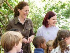 The Duchess of Cambridge with Blue Peter presenter Lindsey Russell (BBC Scotland/BBC/PA)