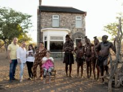 Scarlett Moffatt and members of her family with the Himba tribe (David Bloomer/Channel 4/PA)