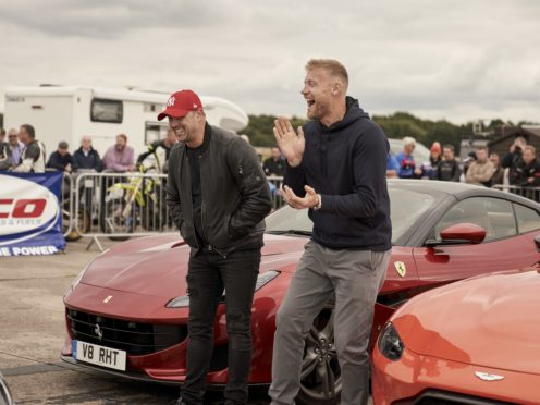 Andrew Flintoff and Paddy McGuinness are returning to present Top Gear with Chris Harris (BBC Top Gear/PA)