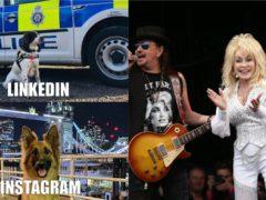 British Transport Police's meme effort, and Dolly Parton at Glastonbury in 2014 (BTP/Yui Mok/PA)